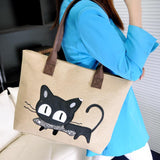 Black Kitty Canvas Shoulder Bag (More Colours) - Cat Lovers Australia