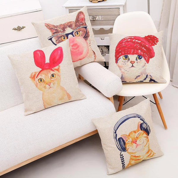 Cat Design Cushion Cover (More Designs) - Cat Lovers Australia