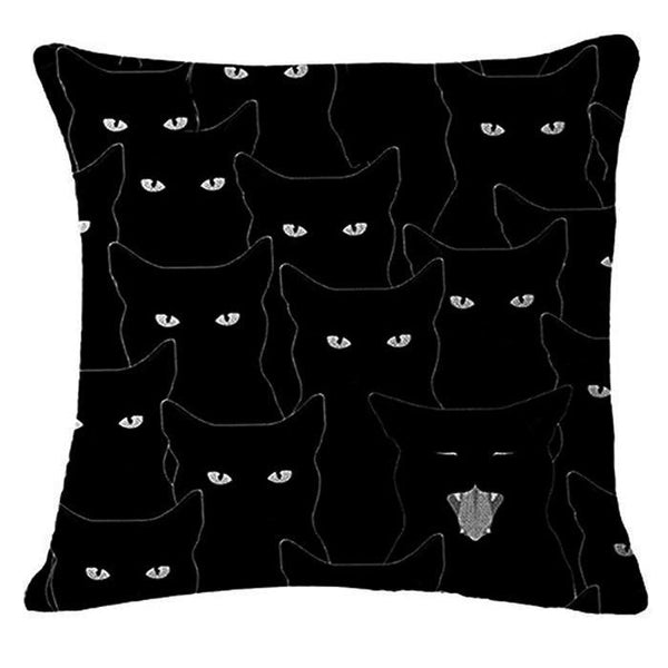 Shadow of Black Cats Design Cushion Cover - Cat Lovers Australia