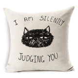 Silently Judging You Cat Design Cushion Cover - Cat Lovers Australia