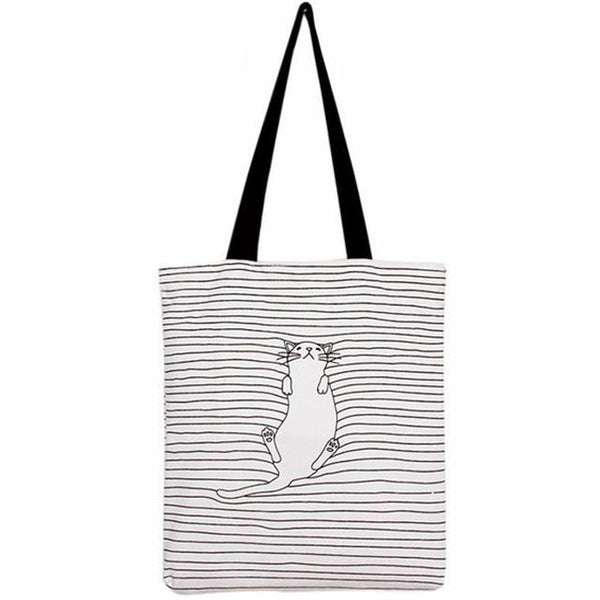 Striped Cat Canvas Bag - Cat Lovers Australia