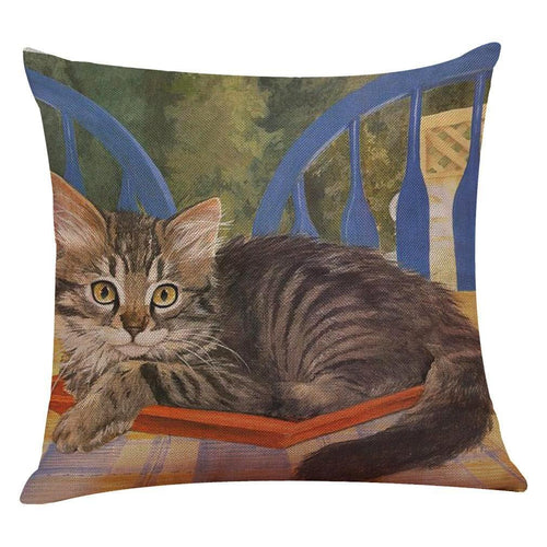 Tabby Curled Up Cat Design Cushion Cover - Cat Lovers Australia