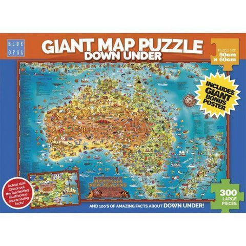 Blue Opal Giant Down Under Map Puzzle - Educational Resources
