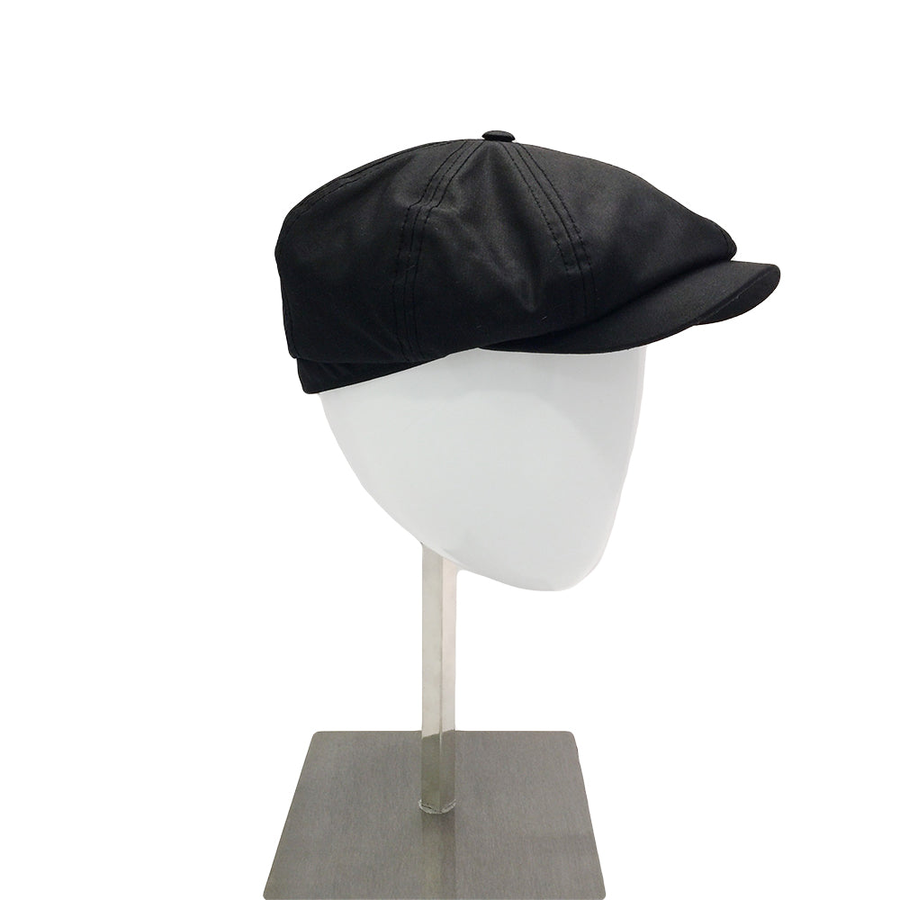 Waxed Cotton Baker Cap - Black