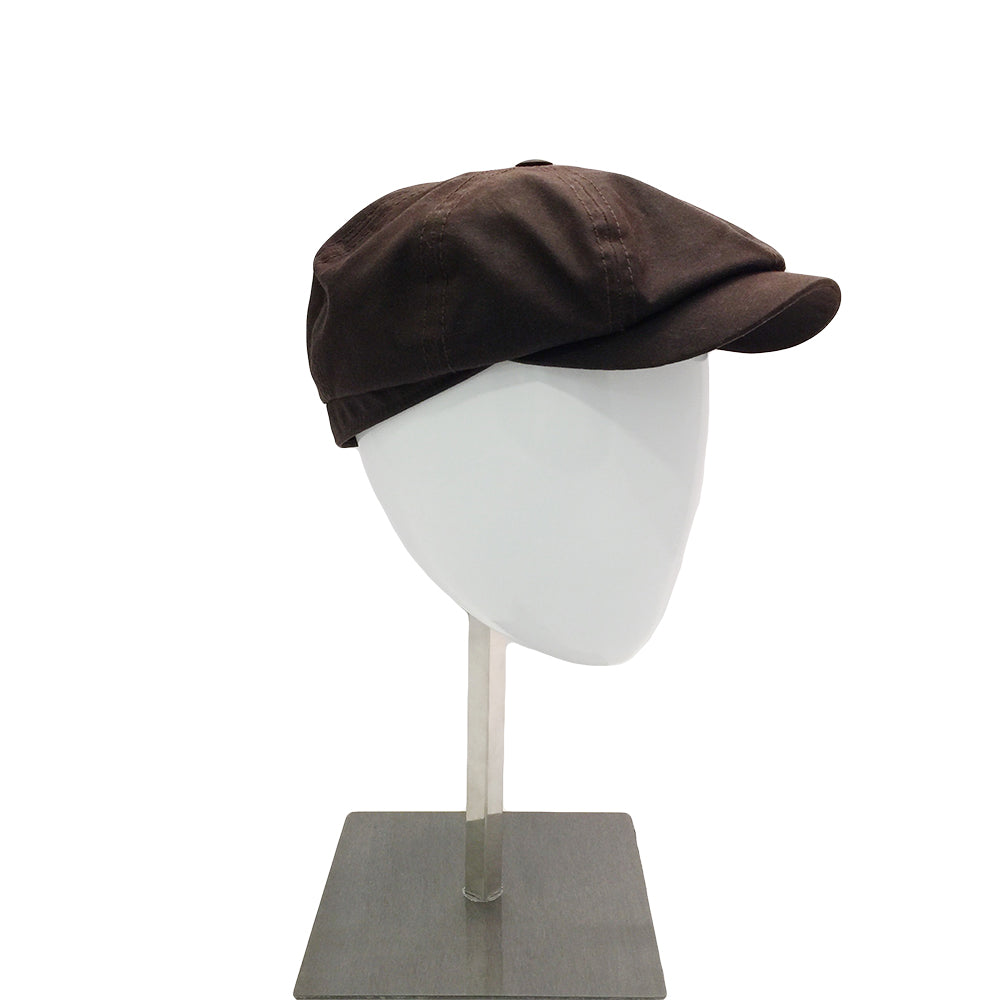 Waxed Cotton Baker Cap - Brown