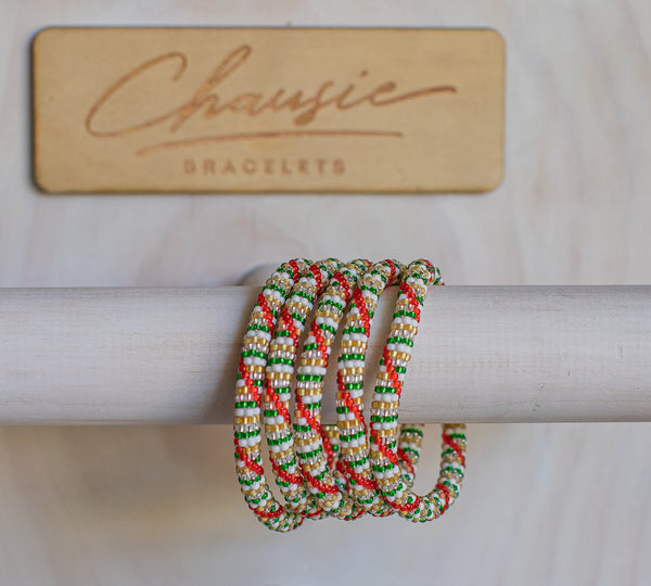 "Christmas ""Deck the Halls"" Roll - On Bracelet"