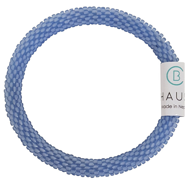Light Sapphire Frosted Blue Roll - On Bracelet