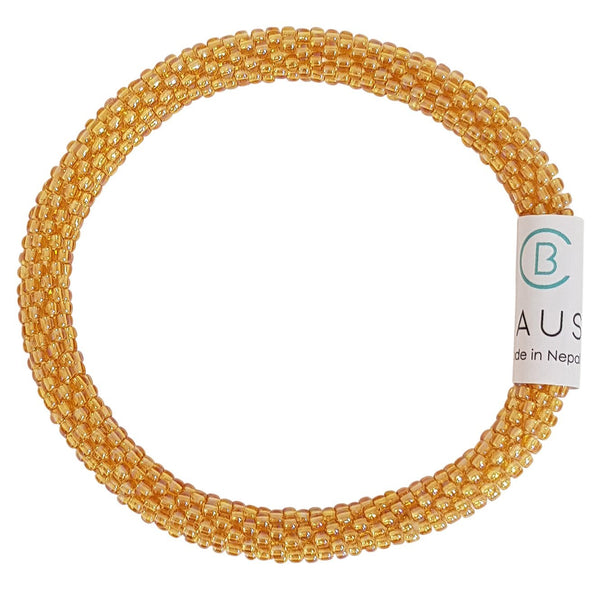 Lustered Medium Topaz Roll - On Bracelet