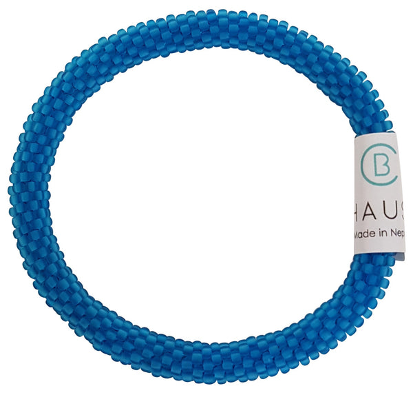 Aquamarine Frosted Roll - On Bracelet