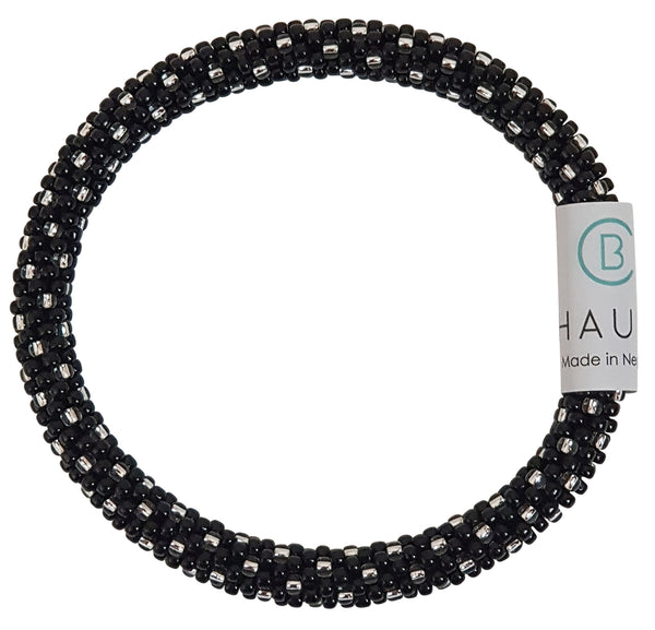 Katie Silver Black Roll - On Bracelet - Chausie