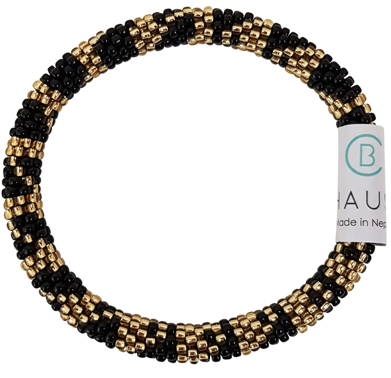"""Paula Gold/Black"" Roll - On Bracelet"