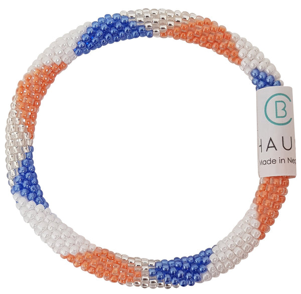 """Maddison Cobalt Orange"" Roll - On Bracelet"