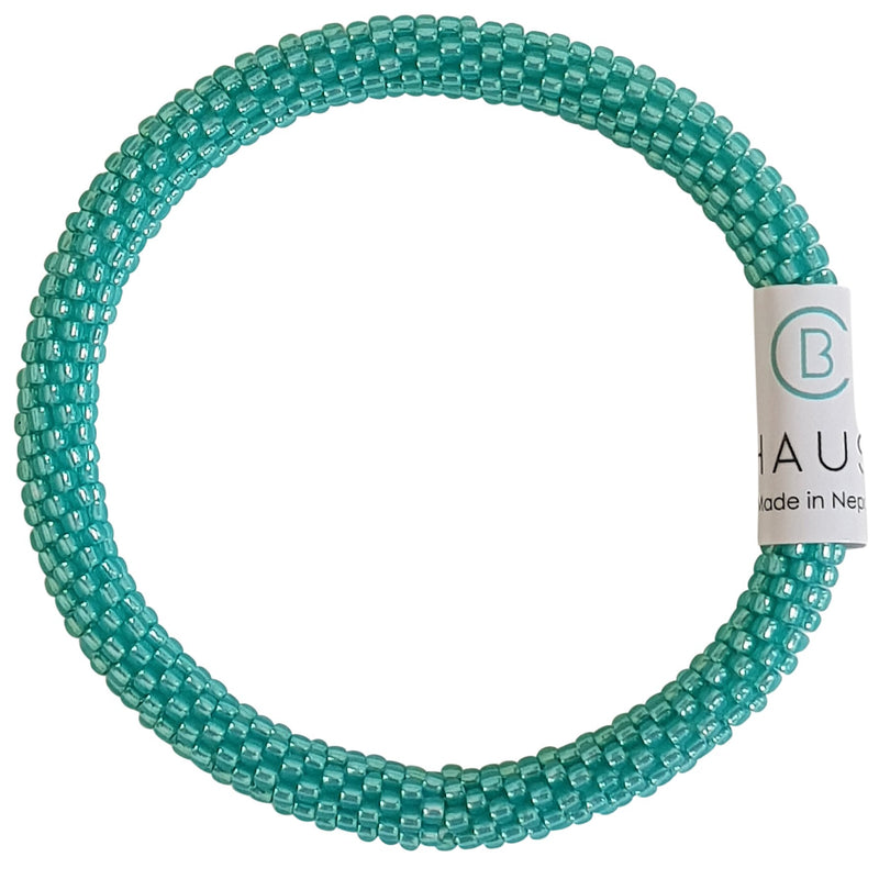 Silver Lined Milky Teal Roll - On Bracelet - Chausie