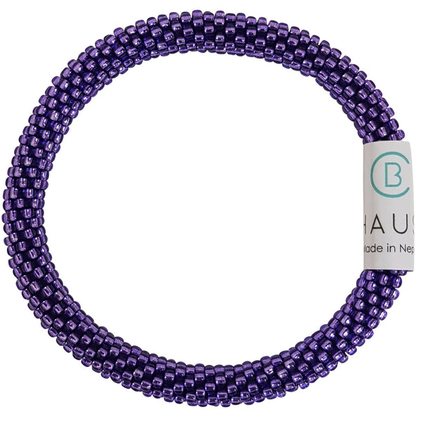 Silver Lined Purple Roll - On Bracelet - Chausie