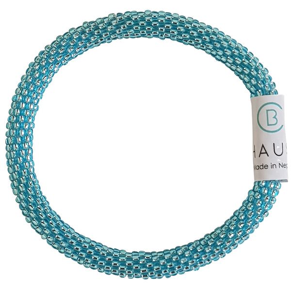 Aquamarine Silver-Lined Roll - On Bracelet