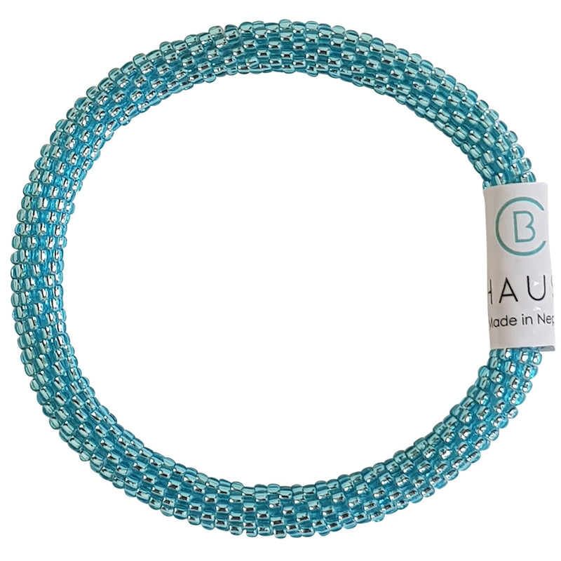 Silver Lined Aquamarine Roll - On Bracelet - Chausie