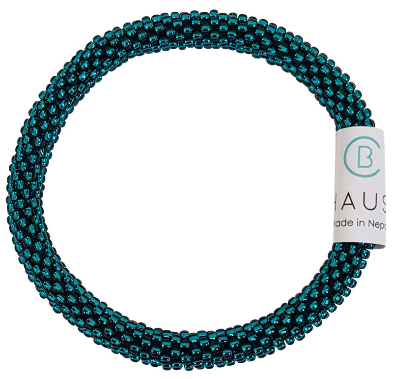 Teal Luster Roll - On Bracelet