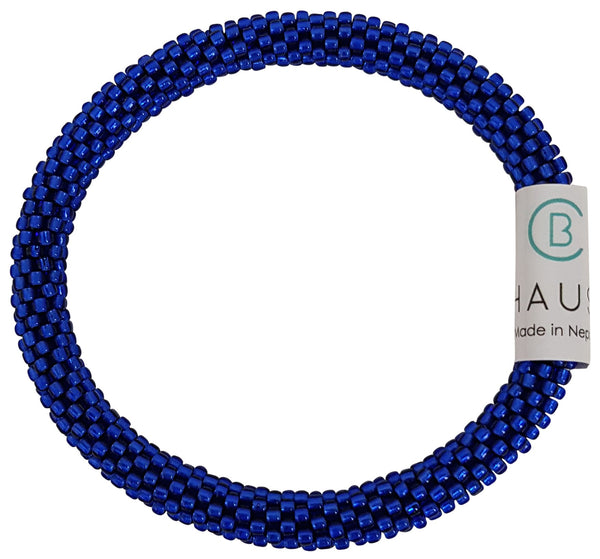 Dark Sapphire Frosted Roll - On Bracelet - Chausie