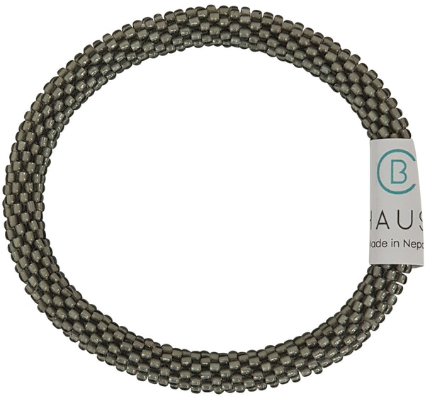 Frosted Grey Roll - On Bracelet