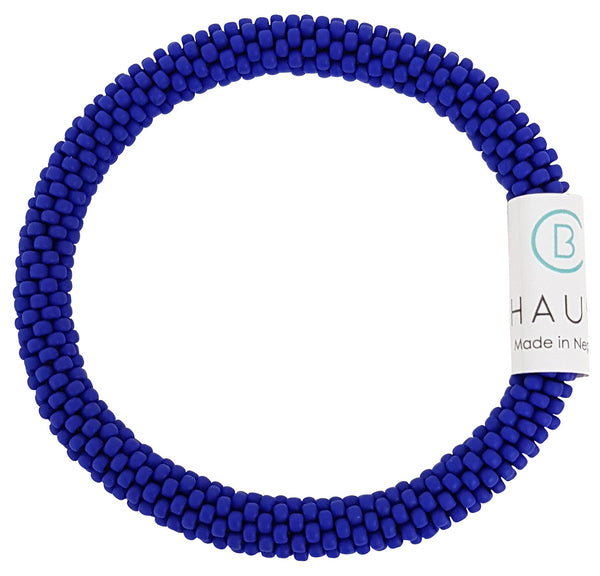 Opaque Frosted Navy Blue Roll - On Bracelet