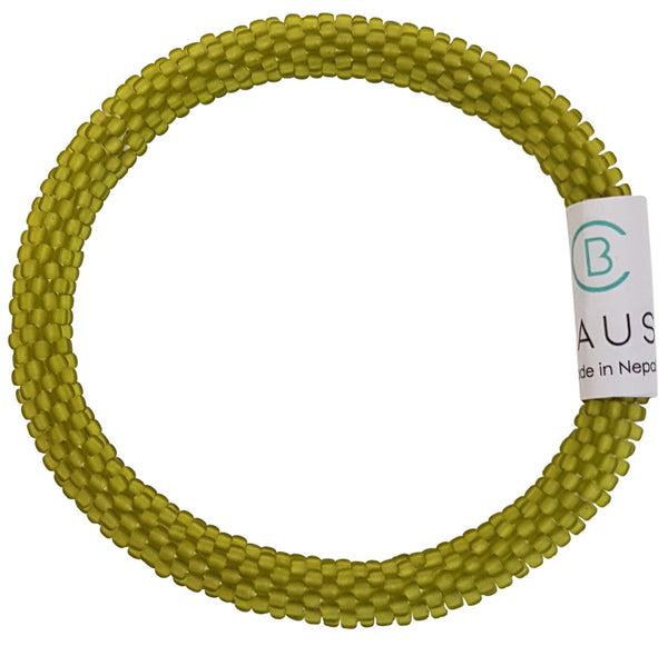 Lime Green Frosted Roll - On Bracelet