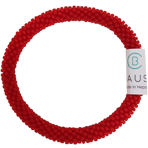 Siam Ruby Frosted Roll - On Bracelet