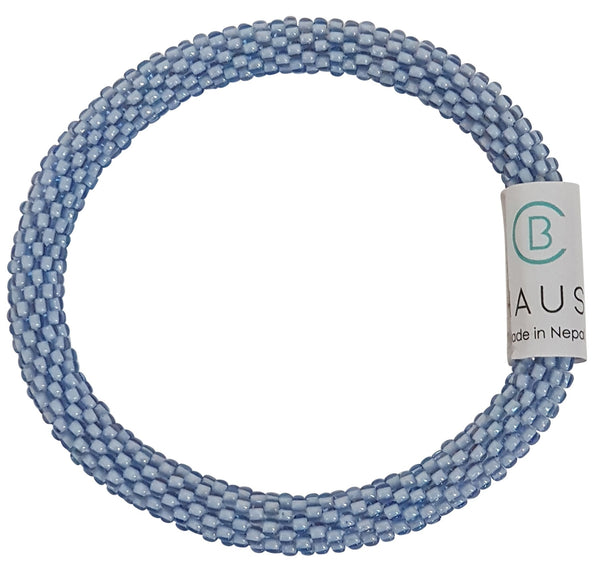 Light Blue Sapphire Roll - On Bracelet