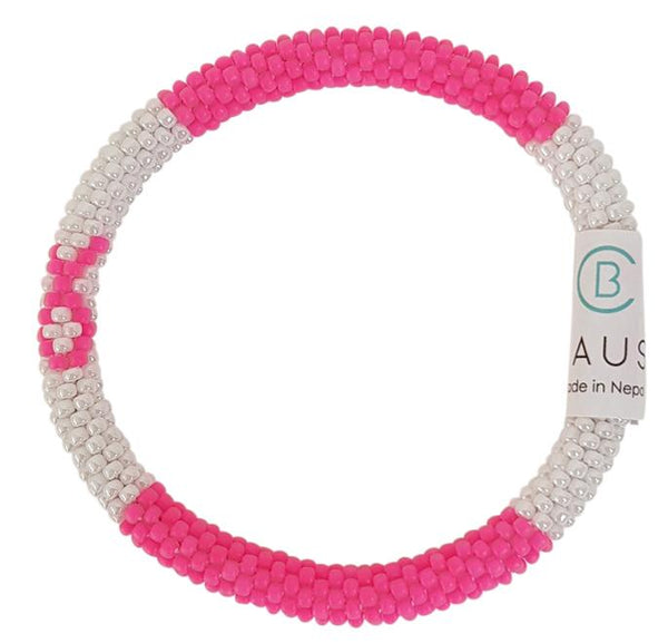 Breast Cancer Pink Ribbon Roll - On Bracelet