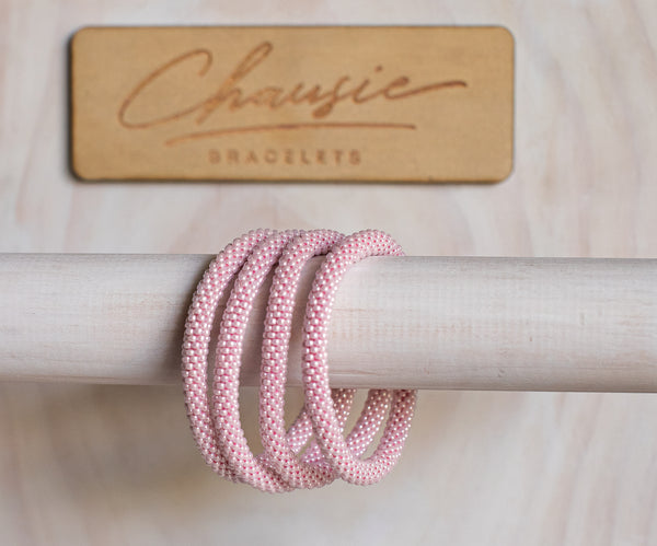 Ceylon Soft Pink Roll - On Bracelet