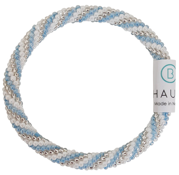 """Charlotte Silver/Blue"" Roll - On Bracelet"