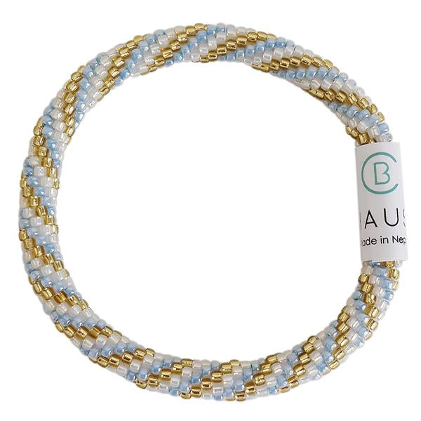 """Charlotte Gold/Blue"" Roll - On Bracelet"