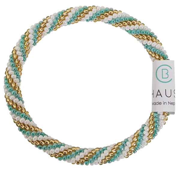 """Charlotte Gold/Sea Green"" Roll - On Bracelet"