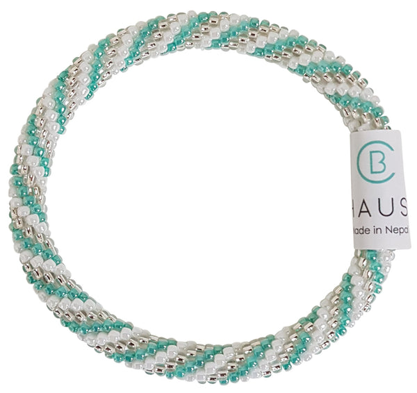 """Charlotte Silver/Sea Green"" Roll - On Bracelet"