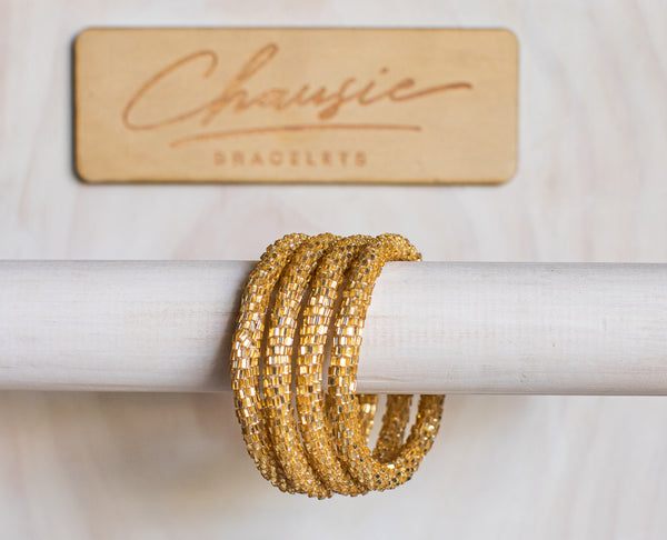 Gold Glitz Roll - On Bracelet