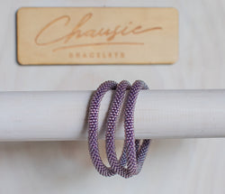 Lustered Light Amethyst Roll - On Bracelet