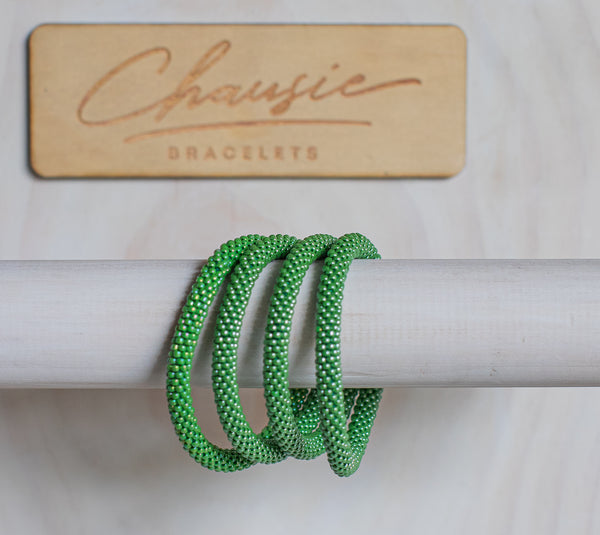 Lustered Mint Green Roll - On Bracelet