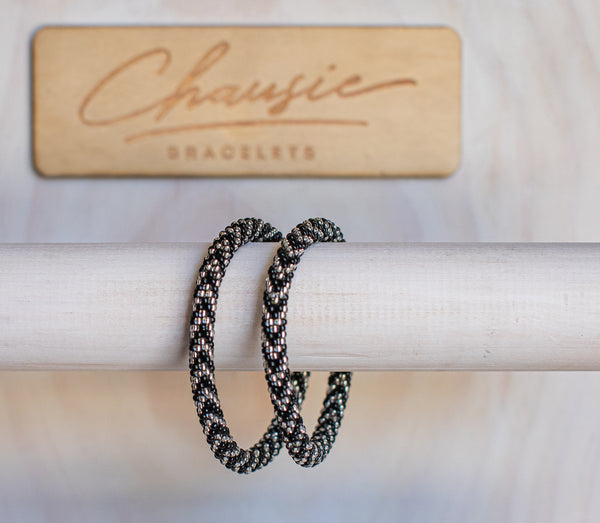 """Olivia Black/Silver"" Roll - On Bracelet"