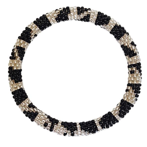 """Paula Silver/Black"" Roll - On Bracelet"