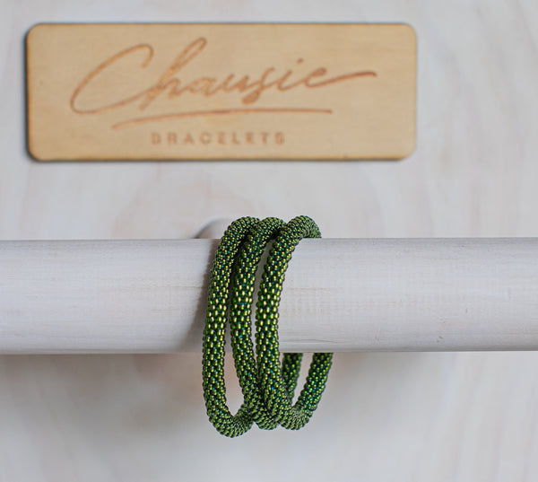 Silver Lined Olivine Roll - On Bracelet