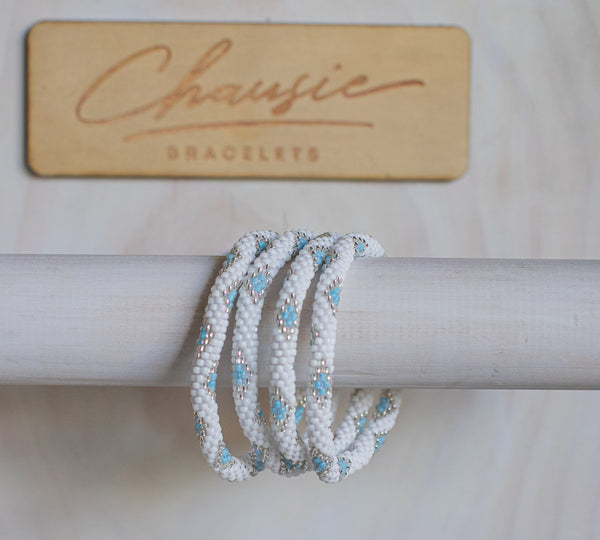 """Sofia Silver Blue"" Roll - On Bracelet"