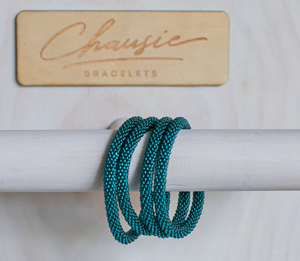 Teal Roll - On Bracelet