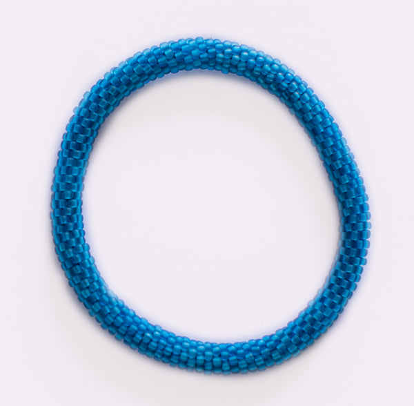 Turquoise Frosted Blue Roll - On Bracelet