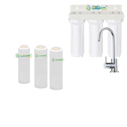 TRIPLE UNDER SINK FILTRATION - SEDIMENT, ARAGON & FLUORIDE FILTERS - Awesome Water