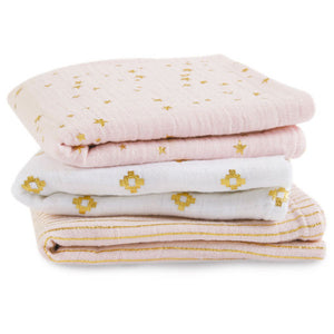 Lot de 3 langes Aden +Anais musy metallic rose