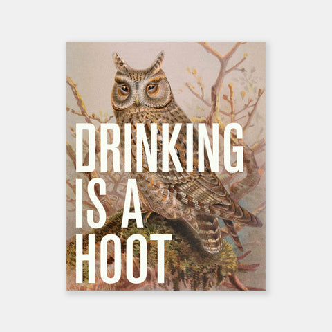 Drinking Is A Hoot Poster - Friends With Booze