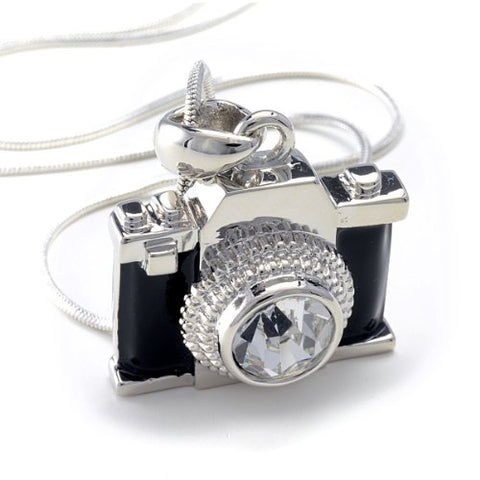 "PammyJ Silvertone Miniature Camera Pendant Photography Crystal Necklace, 18"" - Suha's Shop"