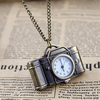 Feelontop Vintage Style Camera Shape Pocket Watch Necklace with Free Jewelry Pouch - Suha's Shop