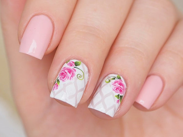 pink rose nail decals, floral nail stickers, rose nails