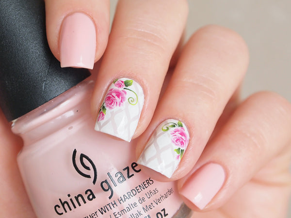 Hot Pink Rose Nail Decals La Paloma Boutique