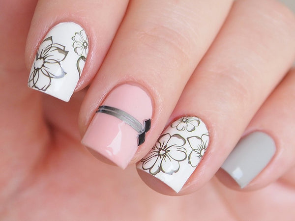 floral nails, floral nail art, floral nail design